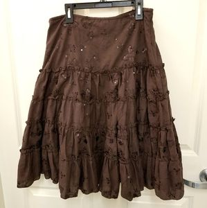 Kommotion NY Brown Tiered Ruffle Skirt